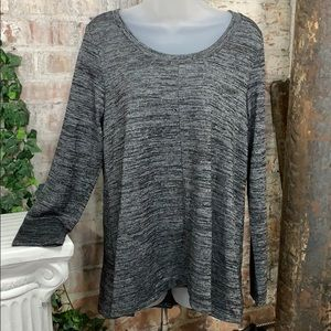 NWT Jones New York Knit Top Black Melange